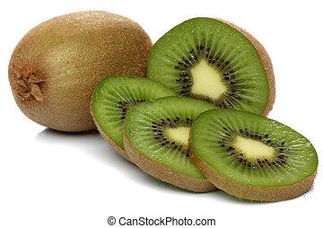 kiwi, bianco, verde, isolato