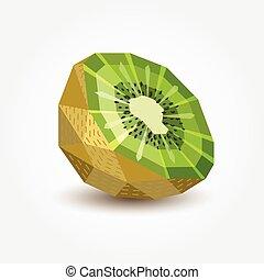 kiwi, illustration., poligono, vettore