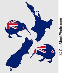 kiwi, nuovo, zealands