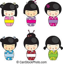 kokeshi, bambole