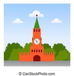 kremlin., federation., mosca, viaggiare, russo