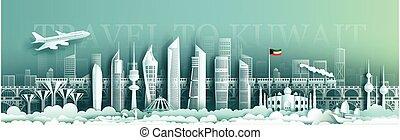 kuwait, punto di riferimento, viaggiare, orizzonte, costruzione, moderno, skyscraper.