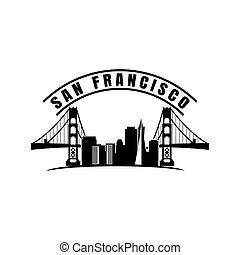 la maggior parte, famoso, francisco, san, fatto, città, illustrazione, silhouette, stile, limiti