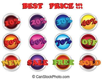 labels., eps10, set, vendita