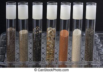 laboratorio, sabbia, analisi, tubi