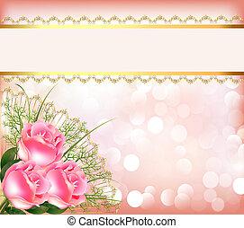 laccio, festivo, mazzolino, nastro, fondo, rose