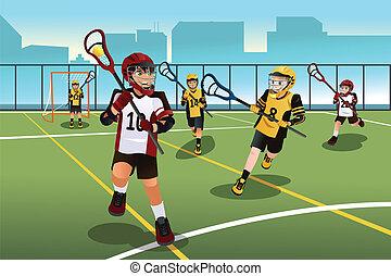lacrosse, bambini, gioco