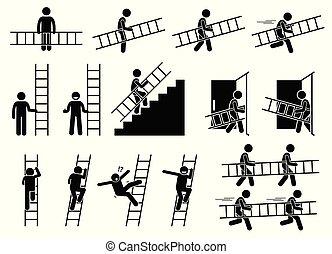 ladder., uomo