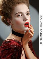 lady., secolo, immagine, giovane, diciottesimo, donna, victotorian