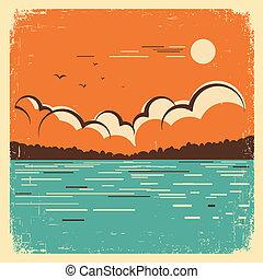 lago blu, vecchio, paesaggio, manifesto, grande