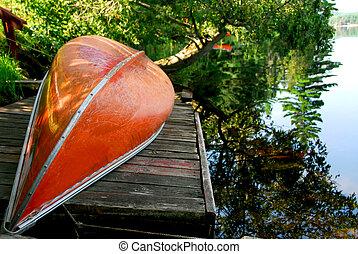 lago, canoa