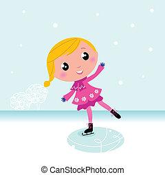 lago, congelato, carino, winter:, bambino, pattinare ghiaccio