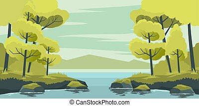 lago, paesaggio autunno