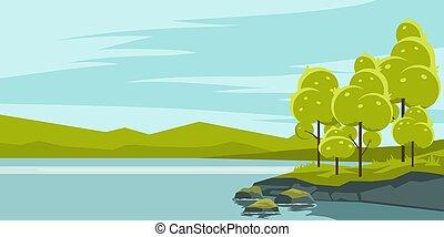 lago, paesaggio, estate