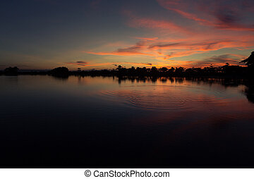 lago, paesaggio, tramonto