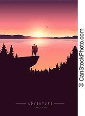 lago, vista, natura, coppia, avventura, scogliera, montagna