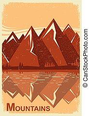 lake., montagna, vecchio, paesaggio, vettore, manifesto