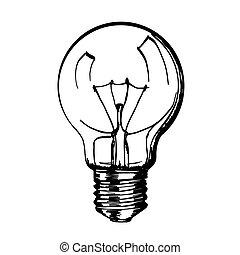 lamp., schizzo, mano, disegnato