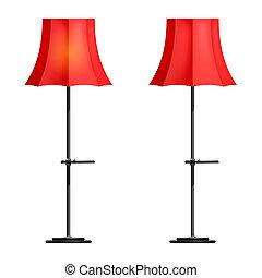 lampada, bianco rosso, fondo, pavimento