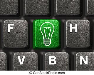 lampada, chiave calcolatore, tastiera