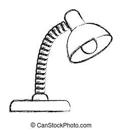 lampada, illustrazione, scrivania