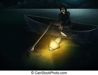 lampada, lago, lancio, nig