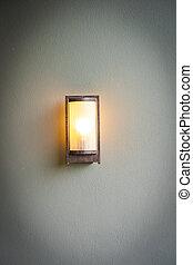 lampada, luce, decorazione, parete