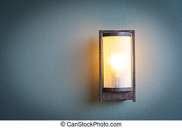 lampada, parete, luce, decorazione