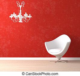 lampada, sedia, bianco rosso