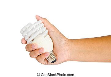 lampada, sfondo bianco, mano