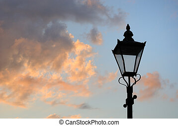lampada, strada, silhouette