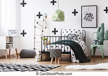 lampada, verde, matto, camera letto