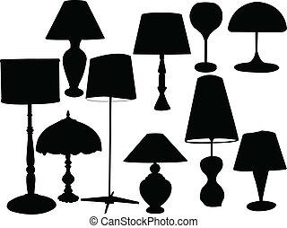 lampade, vettore, -, collezione