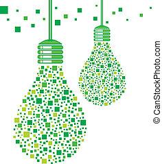 lampadina, verde, disegno