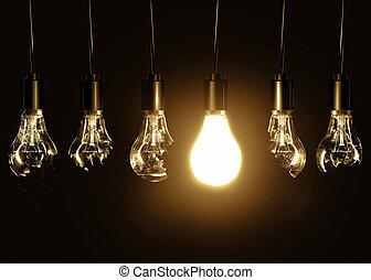 lampadine, bulbo, rotto