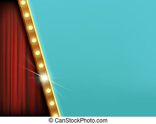 lampadine, curtain., sfondo rosso, luce