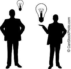 lampadine, silhouette, uomini, luce