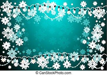 lampadine, snowflakes., luce, neon, scheda natale