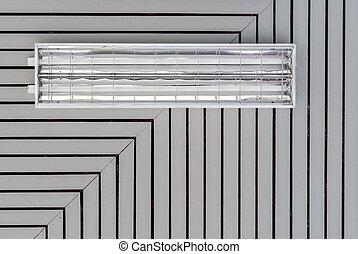 lampadine, soffitto, grunge, legno, fluorescente, vecchio