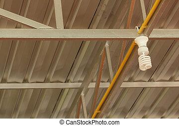 lampadine, struttura, tetto, fluorescente