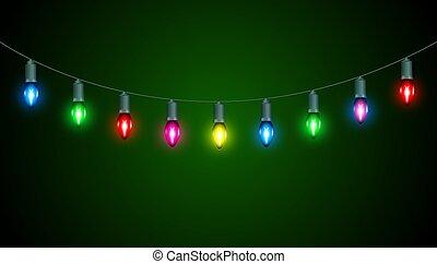 lampadine, verde, molti, natale, fondo, luce