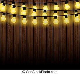 lampadine, vettore, luce, luci, fondo, natale