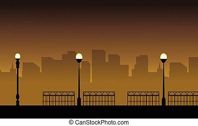 lampione, illustrazione, silhouette, vettore, paesaggio