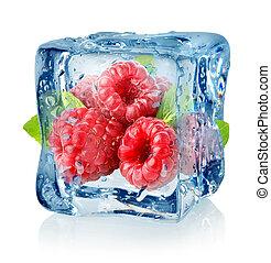 lamponi, cubo, ghiaccio