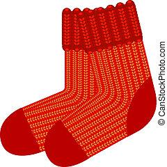 lana rossa, calzini, aggrottare