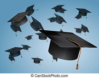 lanciare, cappucci, graduazione, aria
