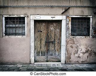 lanciato, venezia, corsa, legno, sbucciatura, sbiadito, barre, giù, windows, pareti, casa, porta, fesso, vecchio, vuoto