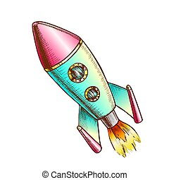 lancio razzo, vettore, colorare, spazio, esplorare