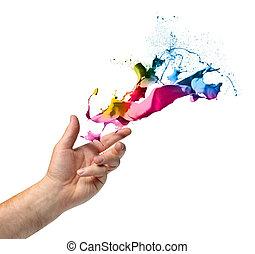lancio, vernice, concetto, creatività, mano