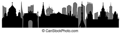 landmarks., illustrazione, silhouette, russia, panorama, urbano, vettore, mosca